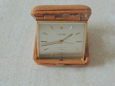 Swiss Made Concord Watch Co Folding Travel 8 days Clock Works Great Leather