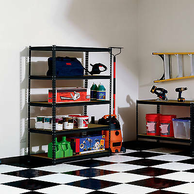 Muscle Rack 5-Shelf Steel Shelving Garage Storage Organization Adjustable, Black
