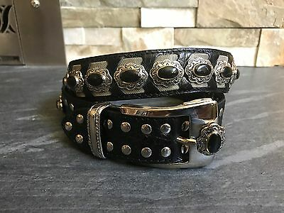 Nanni Black Leather Belt Made In Italy Excellent