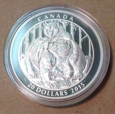 2015 Canada $20 1 oz. Fine Silver Coin – Grizzly Bear: Togetherness