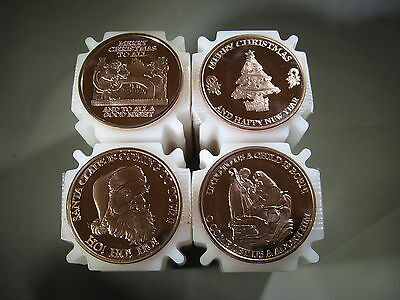 NEW Christmas Set of 4 - 1 oz.999 Copper Rounds Read for Types Snowflake Back