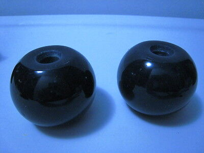 Lot of 2 lovely vintage round black solid marble lamp parts