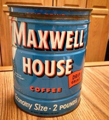 Vintage Maxwell House Coffee Advertising Tin Can, Key Opened, Two Pounds, Nice!