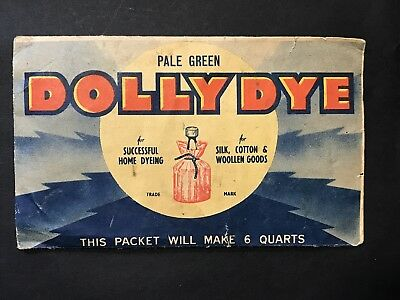 Vintage Packet of DOLLY DYE Pale Green, Fabric Colour, Unopened Domingo Polishes