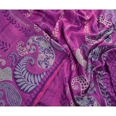 Sanskriti Antique Vintage 100% Pure Silk Saree Purple Printed Sari Craft 5 Yard