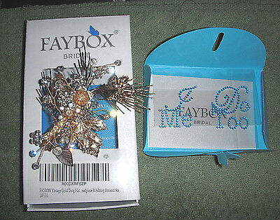 FAYBOX Vintage Gold Twig Hair Clips Bridal Headpiece Wedding Accessories ESTATE
