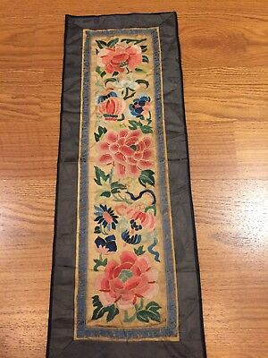 Antique Chinese Hand Embroidery Silk Wall Hanging Panel