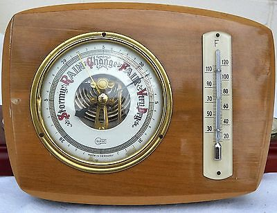 Vintage Carved Wooden Barometer - Barigo Made in Germany