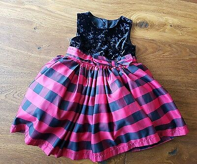 Girls Red & Black Party Dress Age 18 - 24 Months