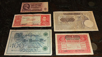 LOT x 5 PCS ASSORTED OLD WORLD BANKNOTES - .99 CENT START!