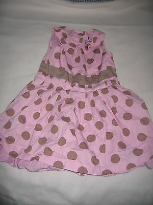 Pink and brown polka dot sleeveless dress from Next - 9-12 months