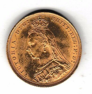 1889  's' Full Sovereign  Queen Victoria Jubilee Head