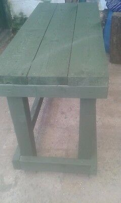 Green stained Wooden work bench