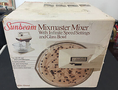 Vtg SUNBEAM MIXMASTER Mixer 02116 Almond Color Infinite Speed NEW IN SEALED BOX!
