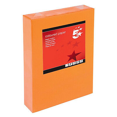 5 Star A4 Orange Printer Paper 80Gsm Quality Inkjet Ream Box Office School Home