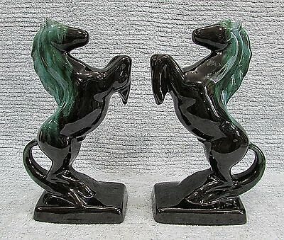 """Pair Vintage Blue Mountain Pottery 9"""" Rearing Horse Bookends Figurines FREE S/H"""