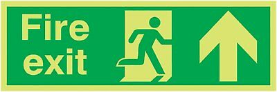 "Signs and Labels AMZFX04711M ""Fire Exit Running Man Arrow Up"" Safe Condition Glo"