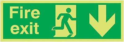 "Signs and Labels AMZFX04211M ""Fire Exit Running Man Arrow Down"" Safe Condition x"