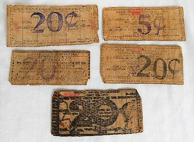 5 Pcs 1943 WWII Philippines Emergency Currency Money Samar RARE ESTATE FIND !!!