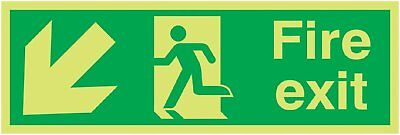"Signs and Labels AMZFX04011M ""Fire Exit Running Man Arrow Down Left"" Safe Safety"