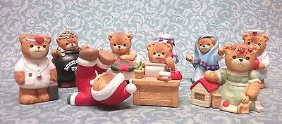 Lot of 9 Lucy & me Enesco bear figurines Nativity,  doctor,  pot of gold etc...