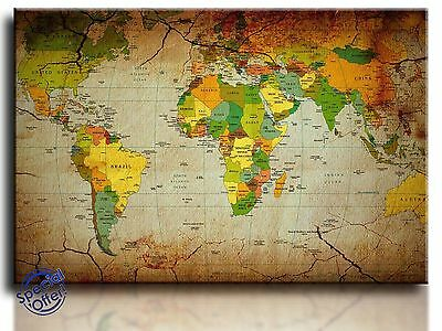 Large Wall Art Canvas Picture Print of World Map Framed