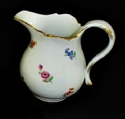 """Authentic Meissen Hand Painted Floral """"strewn Flowers"""" Creamer"""