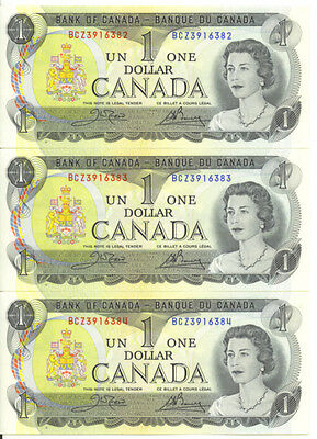Bank of Canada 1973 $1 One Dollar Lot of 3 Consecutive Notes BCZ Prefix UNC