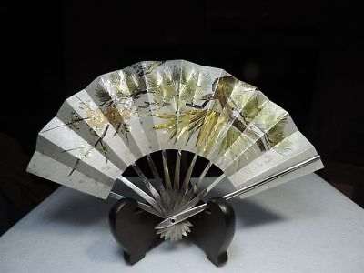 Exquisite Hand Engraved Antique Signed Japanese Sterling Silver Ohgi Fan Japan