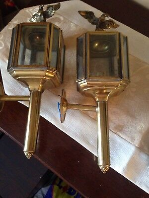 Vintage Style Brass Carriage Lamps Eagle Finial Porch Etc Electric