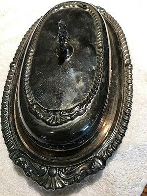 Beautiful Vintage 987 Silver Butter tray with glass inlay