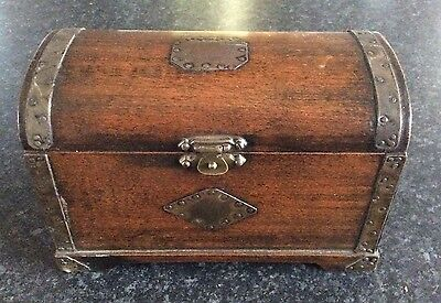 Antique Vintage Small Wooden Chest Shape Solid Box With Metal Edges