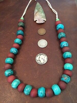 "Long Old TRADE Bead NECKLACE Turquoise FUR TRADE RENDEZVOUS MTN MAN 17-23""LMulti"