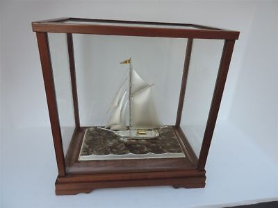 Finest Japanese Signed Sterling Silver 985 Yacht Sailboat Ship By Takehiko Japan