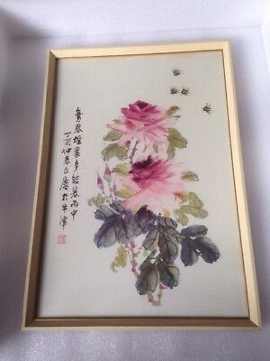Charming Oriental Painting Of Flower And bees