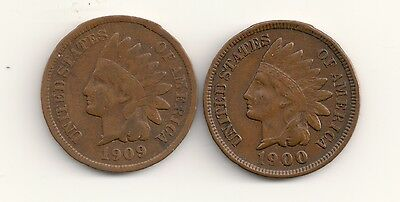 1900 Brown AU & 1909 Brown Circulated Indian Head cents