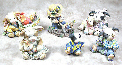 Lot of 6 Collectible Mary Moo Moos Enesco Cow Figurines 1993-1997