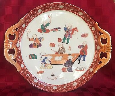 Antique Chinese Porcelain Plate Platter Hand Painted Boys At Play & School