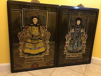 Antique Chinese Emperor & Empress Paintings Pair Reverse Glass