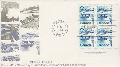Canada #597 25¢ Landscape Definitives Polar Bears Lr Plate Block First Day Cover