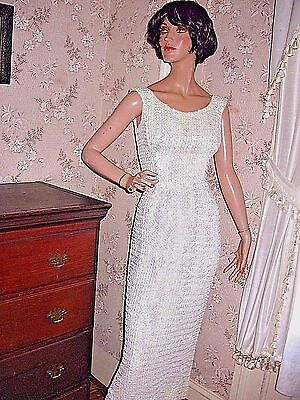 Lovely Vintage White Fancy Irridescent Sequin Cocktail Dress/formal Gown