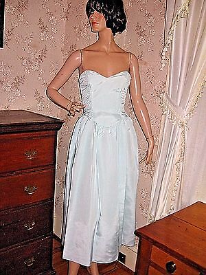 LOVELY VINTAGE 1980s JESSICA MCCLINTOCK STRAPLESS BLUE ACETATE PROM PARTY DRESS