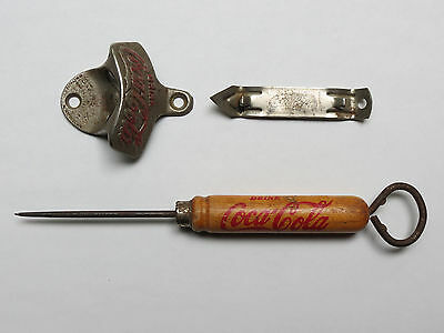 Lot of 3 Vintage Coca Cola Bottle Openers & Ice Pick