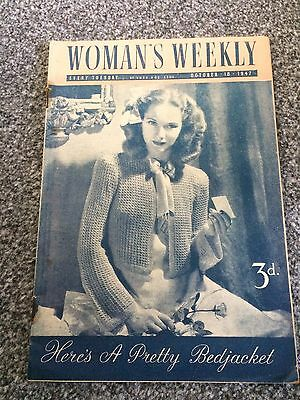 Vintage original Woman's Weekly magazine Oct 18 1947 No1876 Vol LXXII 70yrs old!