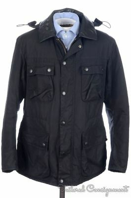 BARBOUR INTERNATIONAL Black Hooded WAXED COTTON Mens Jacket Coat RARE - LARGE