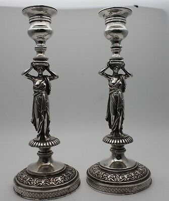 Pair Antique silver figural candlesticks Caryatid possibly French c.19th century