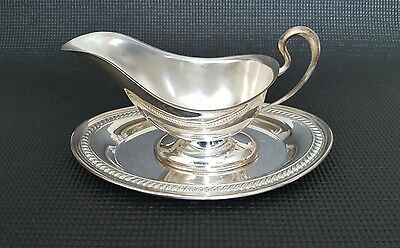 Antique Vintage F.B. Rogers Silver Co Gravy Boat & Drip Tray