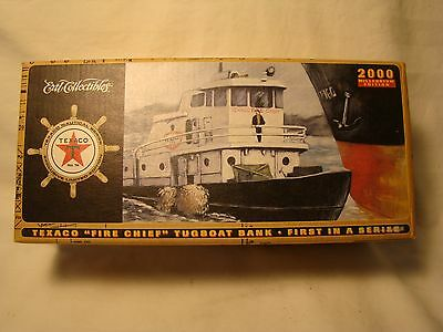 """2000 Texaco """"Fire Chief"""" Tugboat Boat Bank *First in a Series Millennium Edition"""