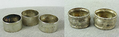 Lot Of 5 Vintage Antique Silver Plated & Alpacca Napkin Ring Holders