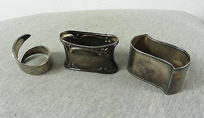 Lot Of 3 Vintage Antique Silver Plated Napkin Ring Holders #2